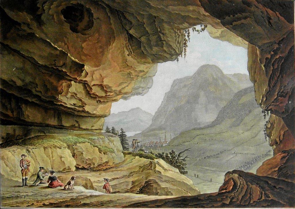 Caspar Wolf, Vue de la Caverne du Dragon / Drachenhöhle Stans, Aquatinta, 1985
